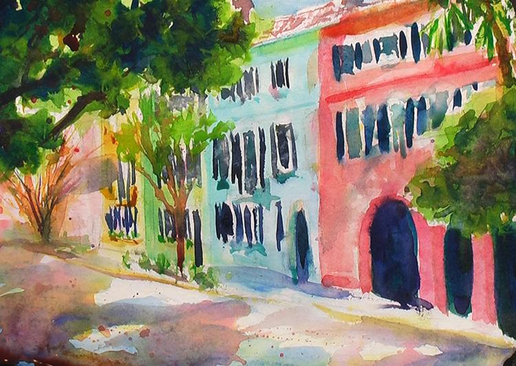Painting Rainbow Row Charleston