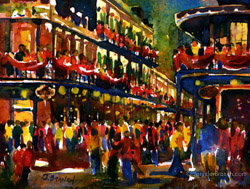 New Orleans Mardi Gras painting Watercolor Painting by Jennifer Branch.