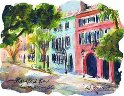 Sketch of Rainbow Row in Charleston, SC. Watercolor Painting by Jennifer Branch.