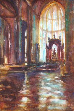 Venice Cathedral Watercolor Painting by Jennifer Branch.