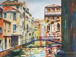Venice Bridge watercolor painting Watercolor Painting by Jennifer Branch.