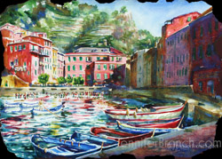 Vernazza Harbor Watercolor painting Watercolor Painting by Jennifer Branch.