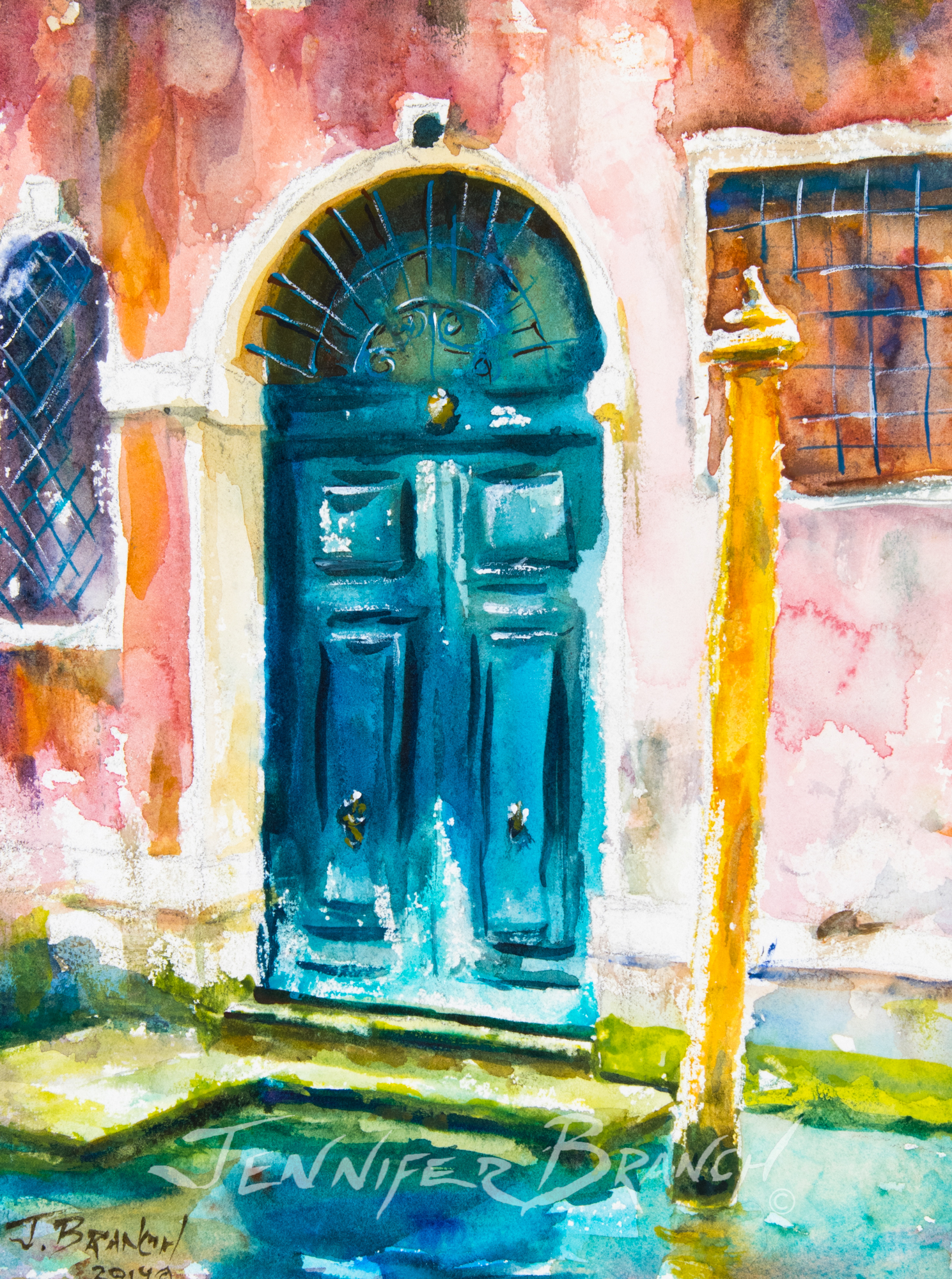 Venice Door watercolor painting by Jennifer Branch