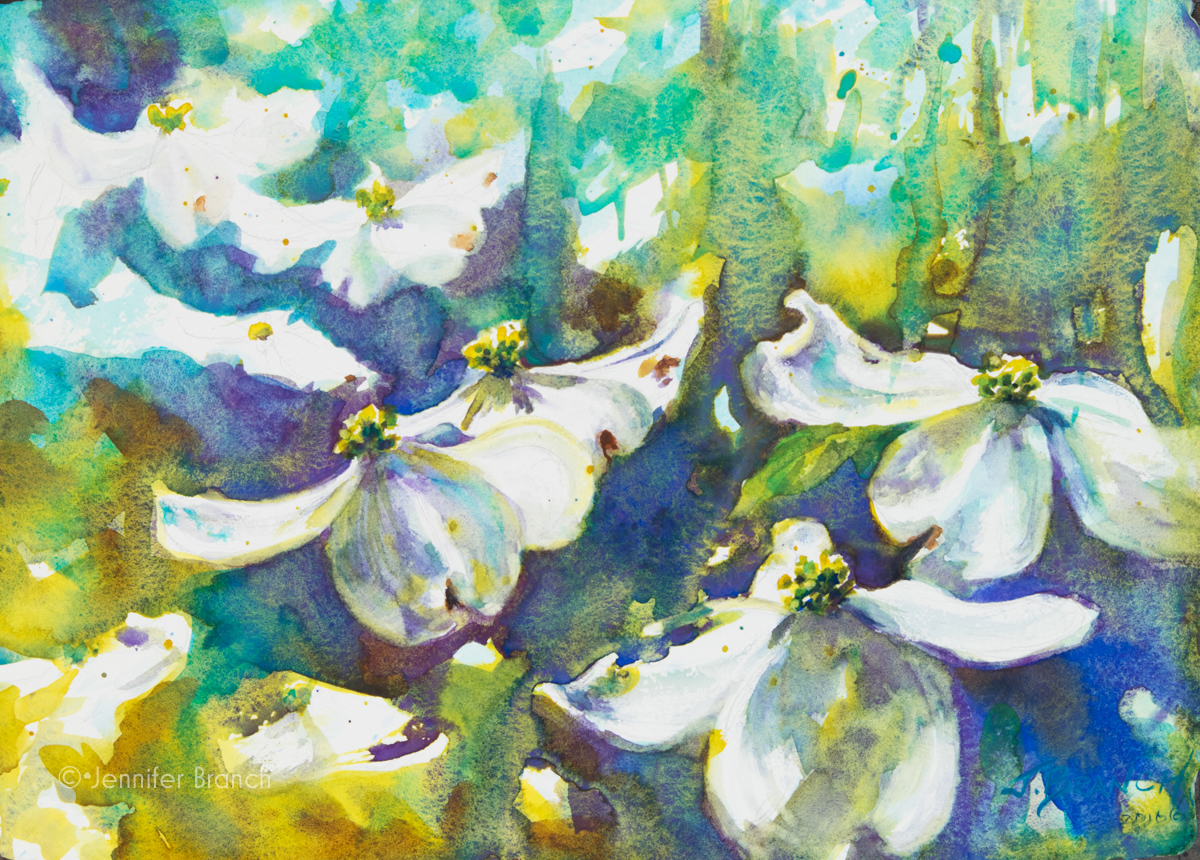Dogwood flowers watercolor painting by Jennifer Branch