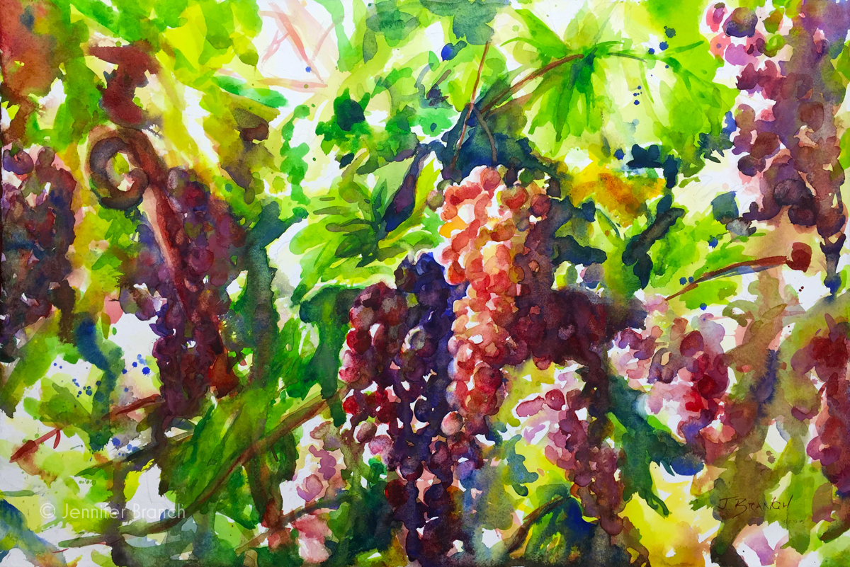 Grapevines Painting by Jennifer Branch