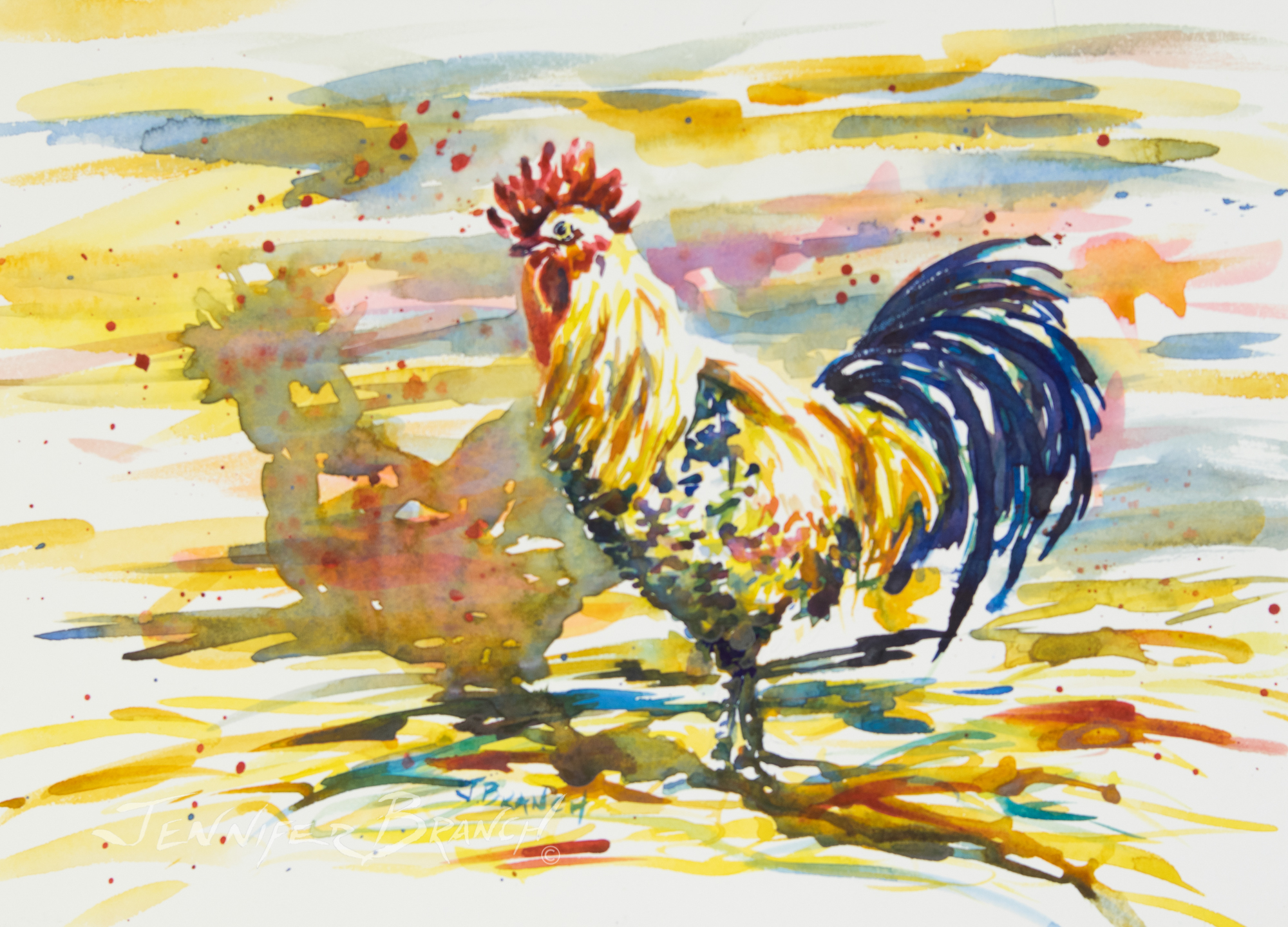Rooster for Video tutorial on watercolor painting