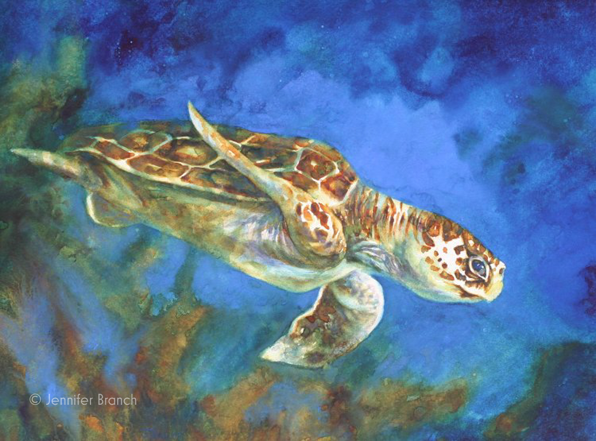 Sea-Turtle-Painting-X by Jennifer Branch