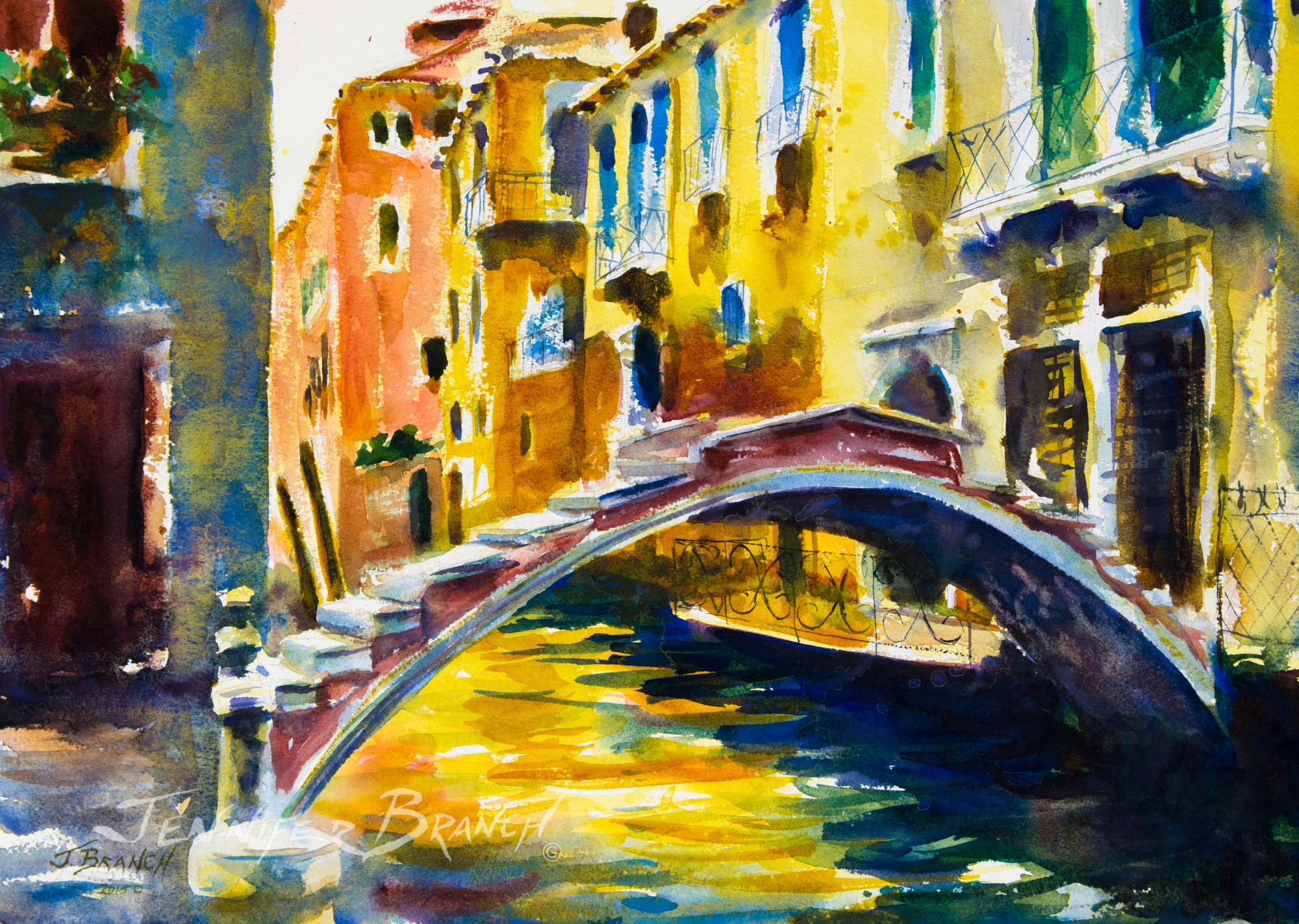 Venice-Bridge-Chiodo-Watercolor-Painting by Jennifer Branch
