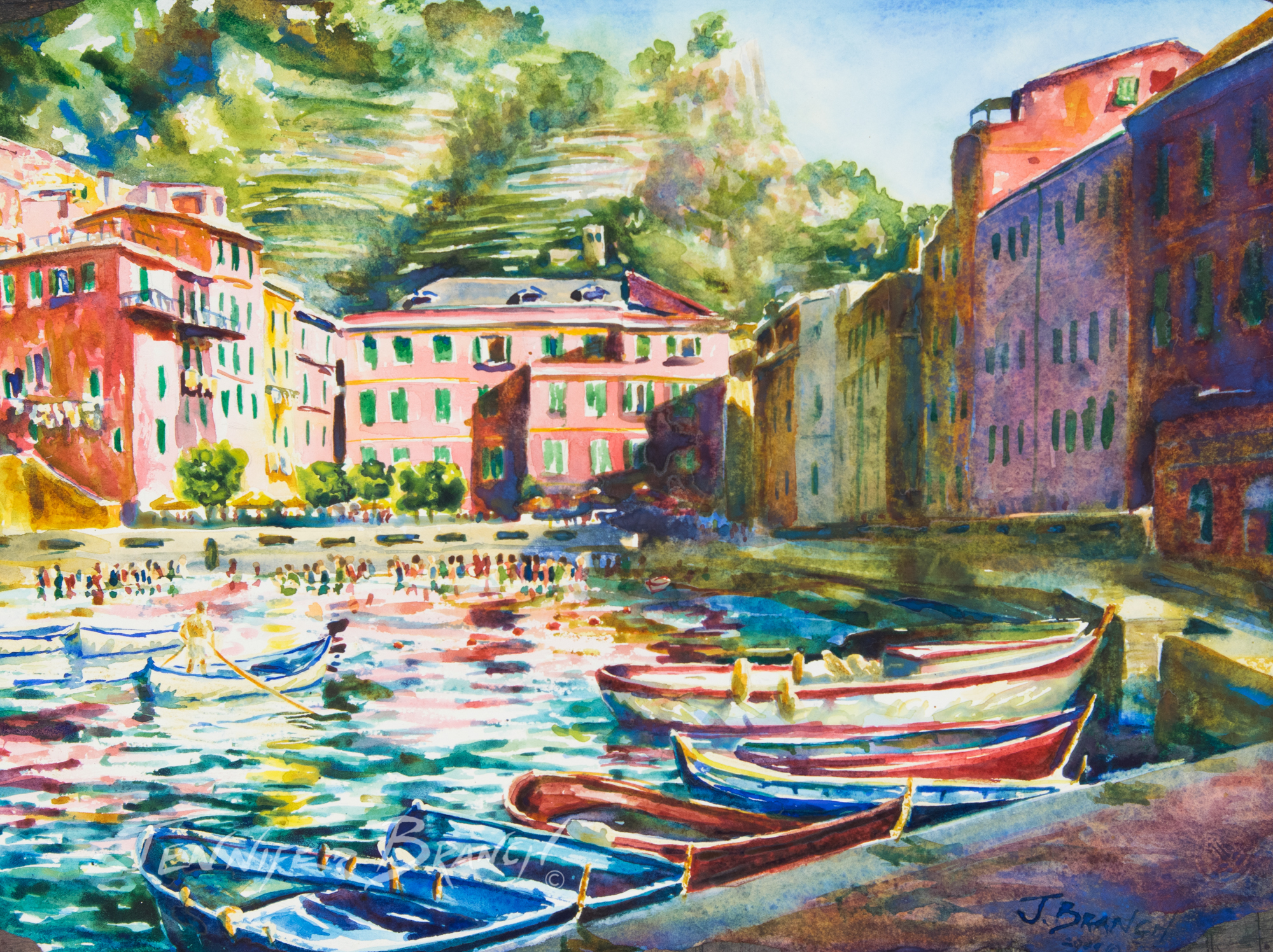 Vernazza Harbor Watercolor painting by Jennifer Branch